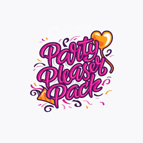 Balloon logo with the title 'Party Typography Logo Design'