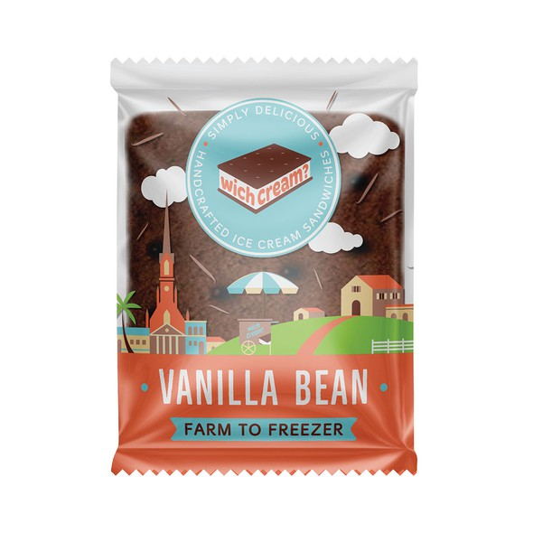 Vanilla design with the title 'Packaging design for ice cream sandwiches'