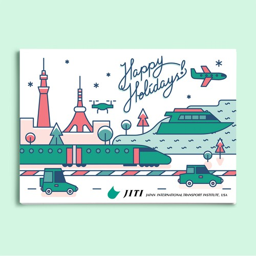 Christmas illustration with the title 'Holiday Postcard Design for JITI USA'