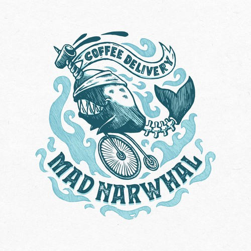 Coaster logo with the title 'Mad Narwhal Logo Design'