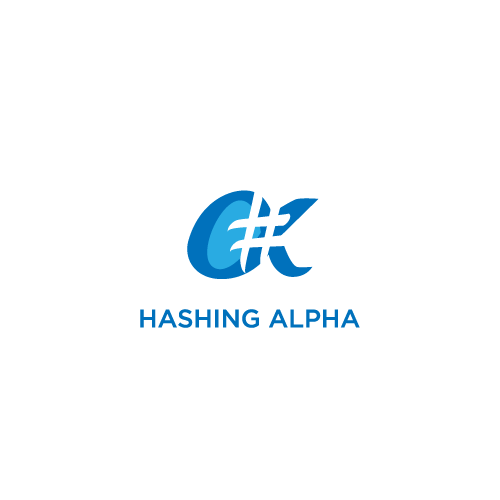 Hashtag logo with the title 'Hashing Alpha'