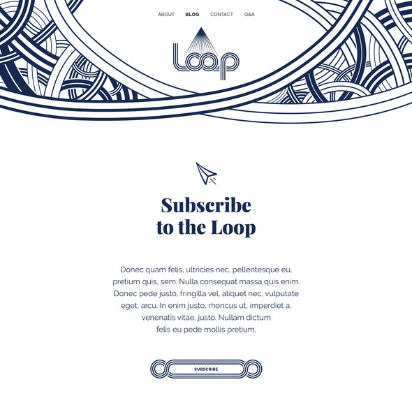Texture website with the title 'Blog website design for Loop'