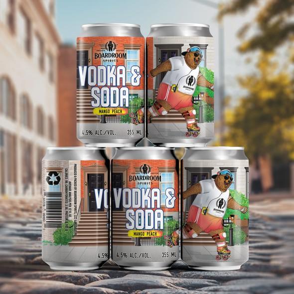 Soda can design with the title 'Label design for Vodka & Soda, Mango Peach'