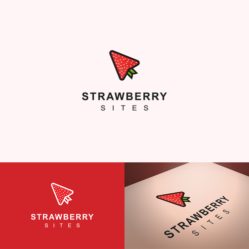 Strawberry logo with the title 'Modern logo for web design agency'