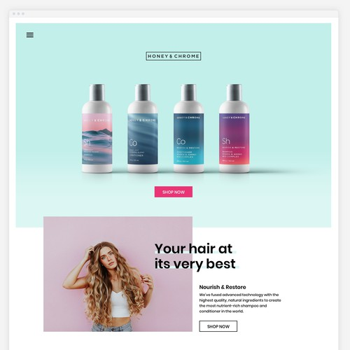 Beauty website with the title 'Website Design for Shampoo Brand'