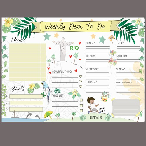 Planner design with the title 'weekly planer'