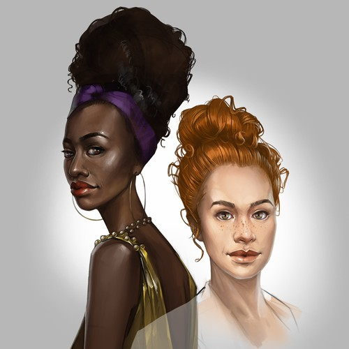 African illustration with the title 'Character design'