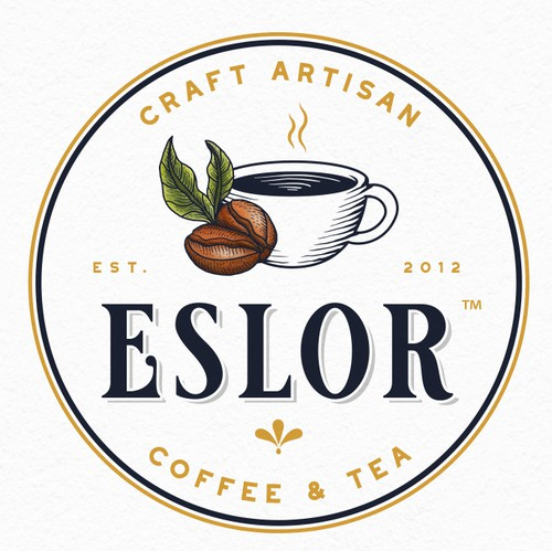 Coffee cup logo with the title 'Eslor'