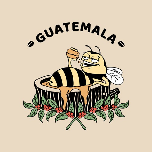 Funny illustration with the title 'Bag Marking Guatemala'