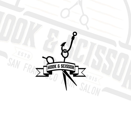 Fishing hook logo with the title 'Logo for a hair salon '