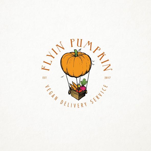 Vegan logo with the title 'Flyin Pumpkin'