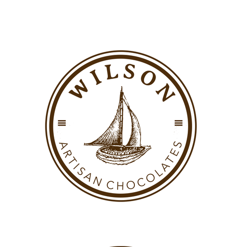 Boat logo with the title 'Artisian chocolates Wilson'