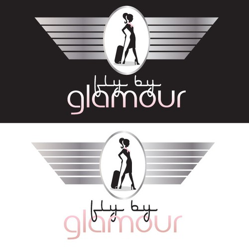 Glamorous logo with the title 'Fly By Glamour (Hair and Makeup w/ Aviation Theme) wants an amazing logo!'