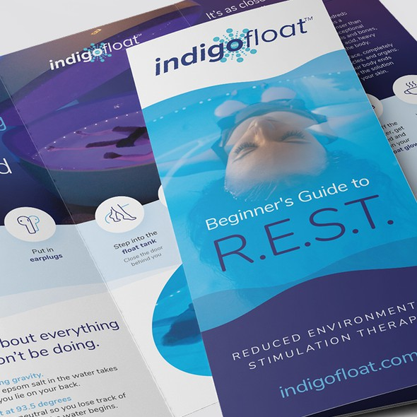 Float design with the title 'Creative Tri-Fold Brochure for IndigoFloat'