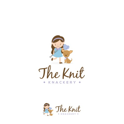 Boy and girl logo with the title 'Logo The Knit Knackery'