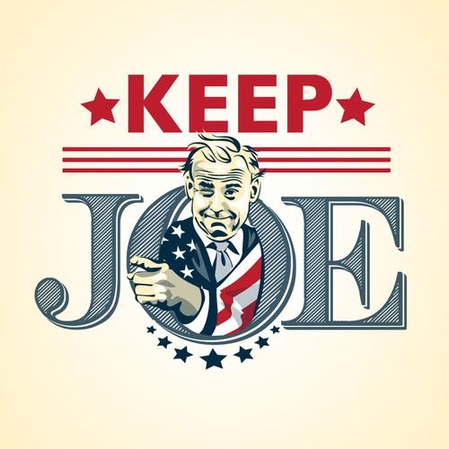 Portrait illustration with the title 'portrait of joe biden for a mock political ad'