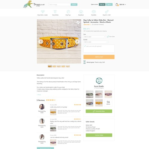 Dog website with the title 'Doggy product page'