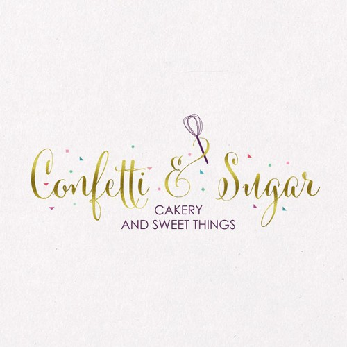 Dessert logo with the title 'CONFETTI & SUGAR'