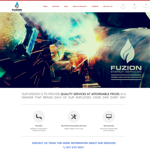Energy website with the title 'Create a captivating website for Fuzion Energy Company'
