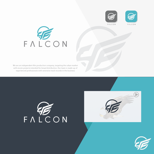 Falcon brand with the title 'lettermark logo cconcept'