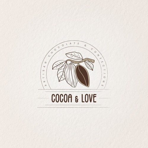 Chocolate bar logo with the title 'Cocoa & Love'