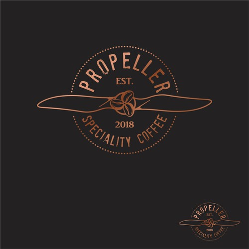 Propeller design with the title 'Logo for a coffee shop inspired by a propeller.'
