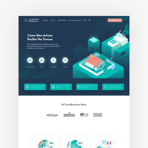 Isometric website with the title 'Homepage Design for J'aime Mon Artisan'