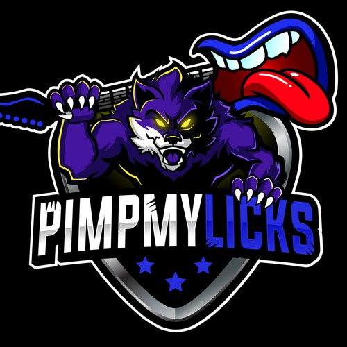 Mascot logo with the title 'PimpMyLicks'