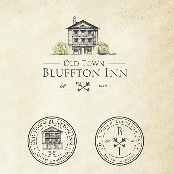 Hotel brand with the title 'Vintage boutique hotel logo'