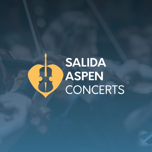 Violin logo with the title 'A logo for a series of summer concerts.'