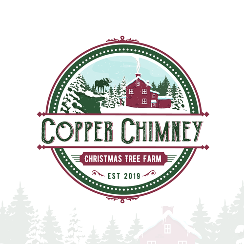 Christmas tree logo with the title 'logo for Copper Chimney Christmas tree farm'