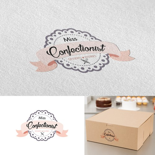 "Patisserie logo with the title '""Miss Confectionist"" desserts and pastries logo'"