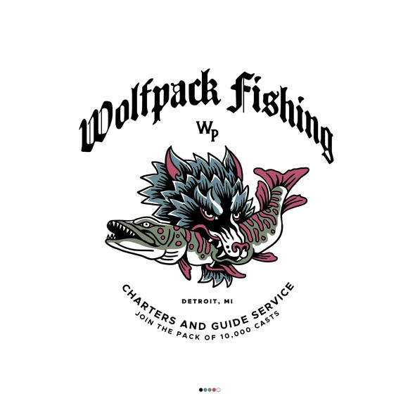 Design with the title 'Wolfpack Fishing'