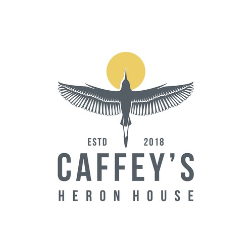 Heron design with the title 'CAFFEY'S HERON HOUSE'
