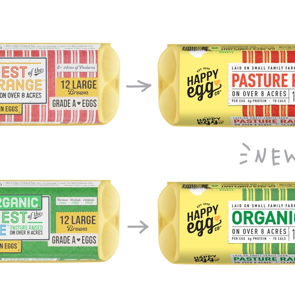 Redesigned packaging with the title 'Pasture raised eggs redesign'