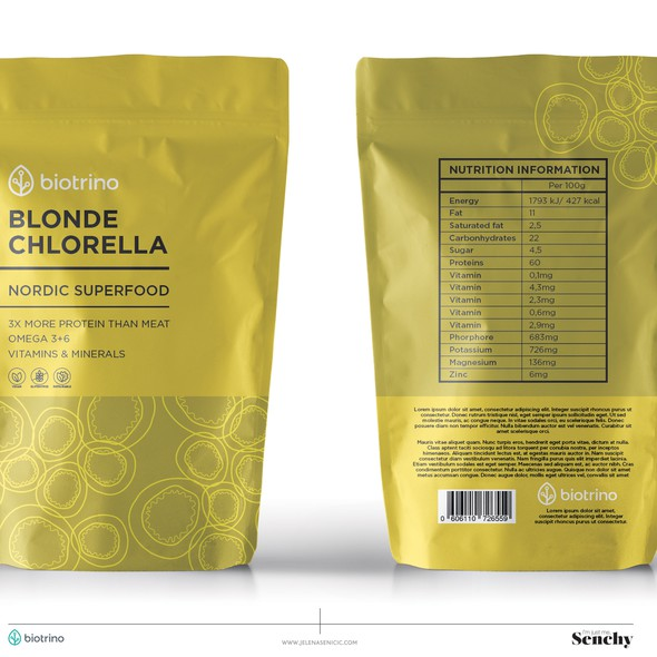 Yellow packaging with the title 'Nordic Superfood'