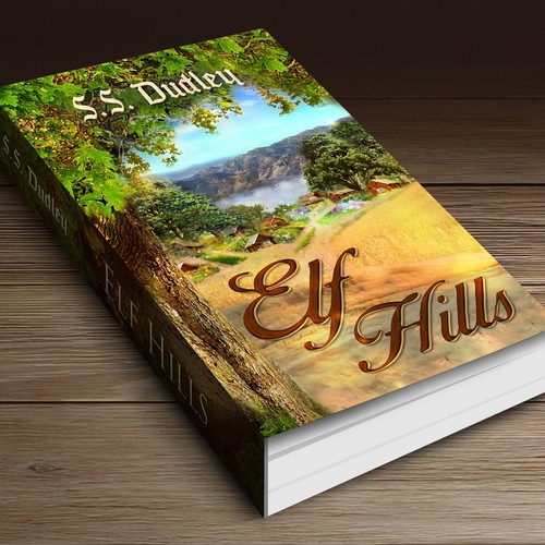 Whimsical book cover with the title 'Book cover for children's fantasy novel based in the CA countryside'