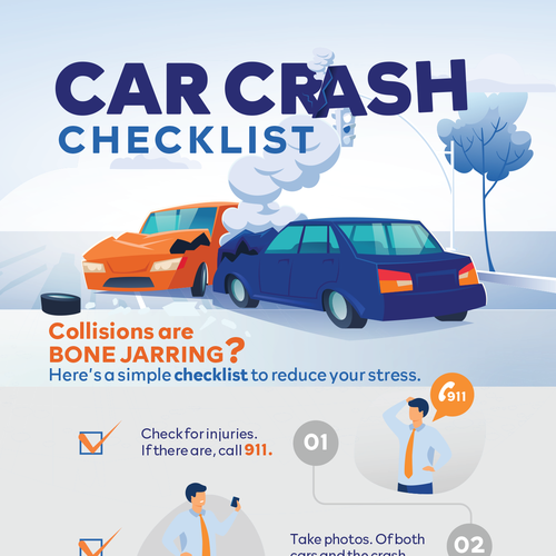 Checklist design with the title 'Law: car Crash'