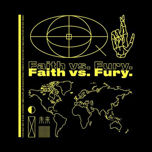Fashion design with the title 'Faith vs Fury'