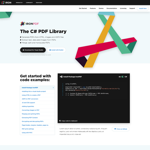 Responsive website with the title 'IronPDF'