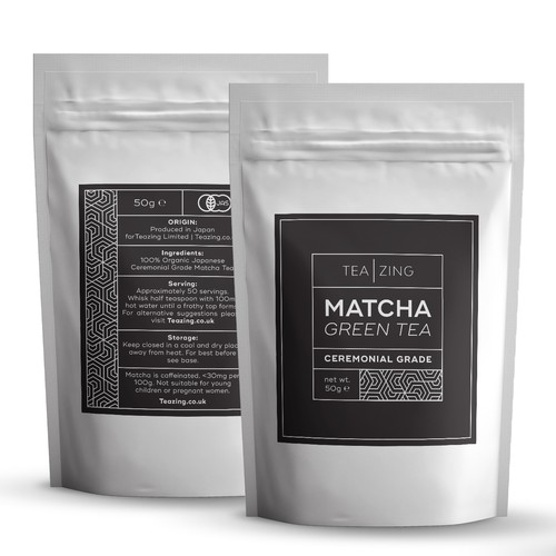 Tea design with the title 'Logo and Matcha labels for TeaZing'