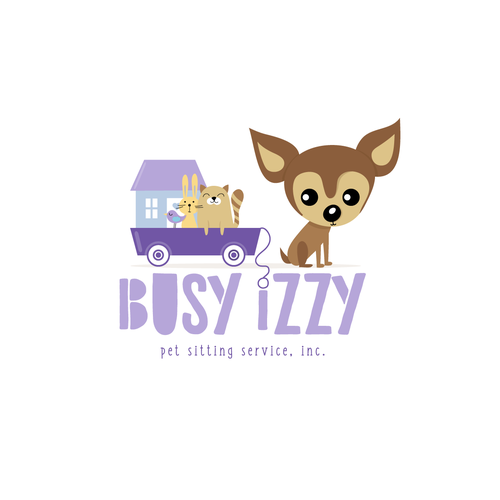 Pet sitting logo with the title 'Contest entry for Busy Izzy Pet Sitting Service'