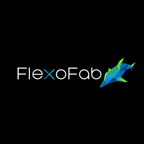 Black and blue logo with the title 'flexofab'