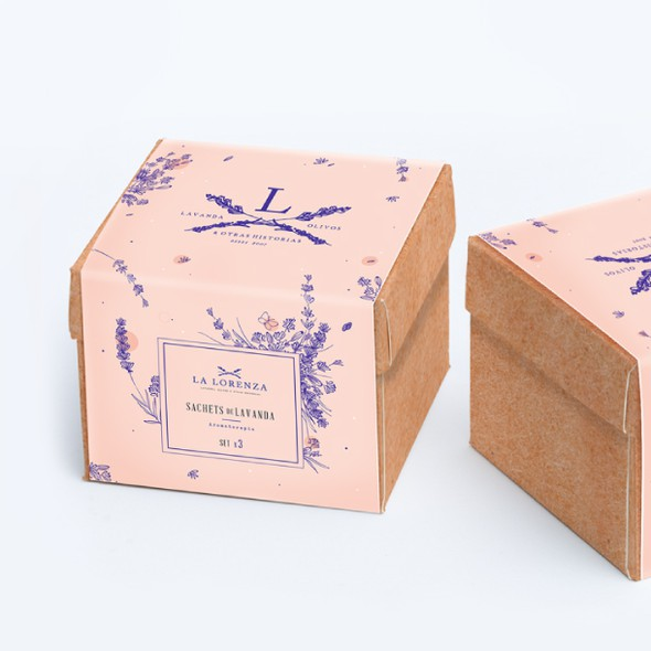 Lavender packaging with the title 'Box, sachets & booklet for La Lorenza'