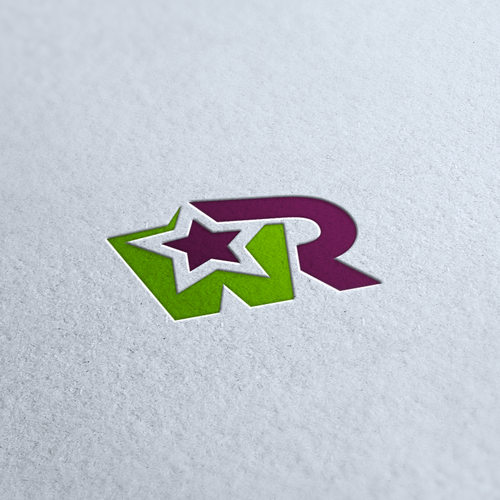Purple and green design with the title 'New logo wanted for WR'