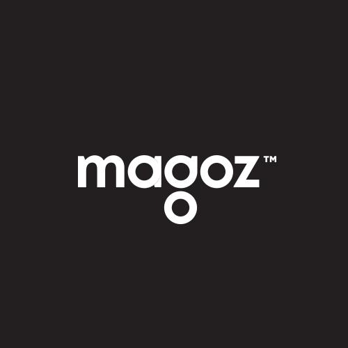 Black brand with the title 'Magoz wordmark logo'