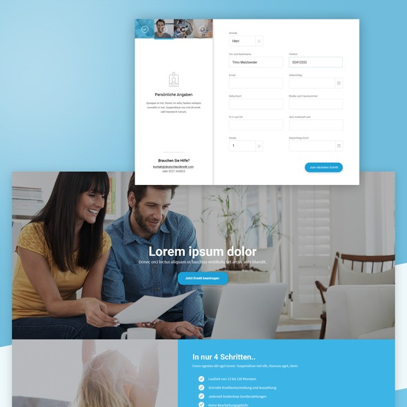 Loan website with the title 'Landing Page '