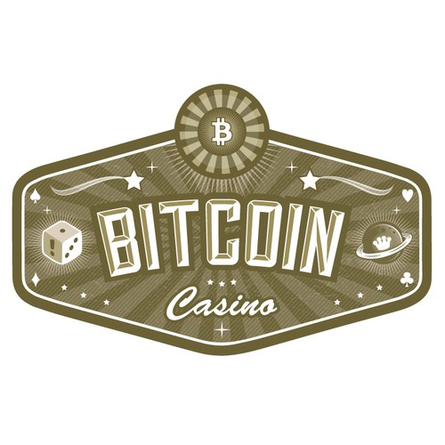 Gambling logo with the title 'Bitcoin Casino Logo'
