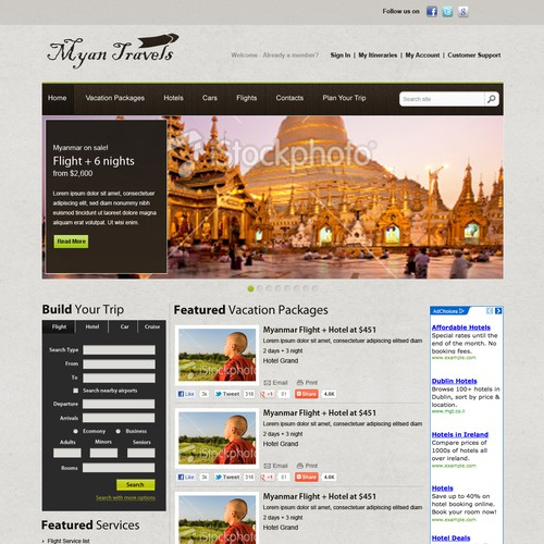 Vacation website with the title 'Myan Travel '
