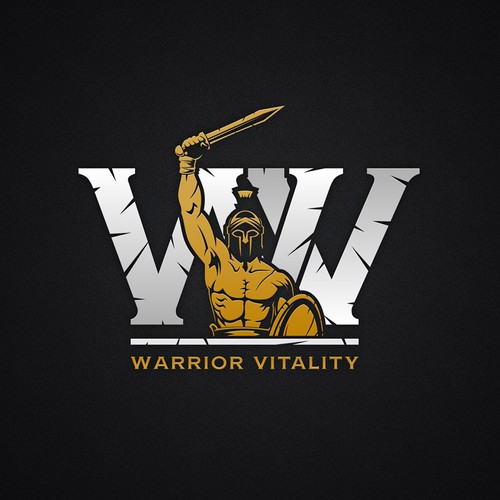 Spartacus logo with the title 'Masculine logo for Warrior Vitality'